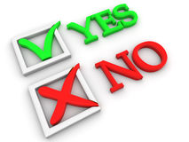 Yes or No. Questionnaire. 3d Very beautiful three-dimensional illustration Stock Images