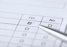 Yes or no questionnaire or form Stock Photography