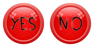 Yes-no red button Royalty Free Stock Photography