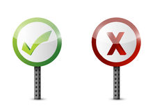 Yes and no road sign illustration design Stock Photos