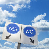 YES NO ROAD SIGN. Road sign shows YES-NO contrast, cloudy sky Royalty Free Stock Image