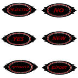 Yes no ruber stamps. Black white and red rubber stamps vector illustration stock illustration