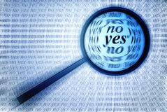Yes or No. Selecting Yes or No with black magnifying glass blue toning, hand drawing Royalty Free Stock Images
