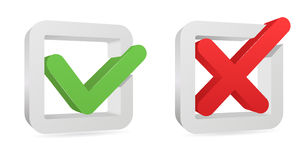 Yes and no sign. Green color shiny tick isolated on white background and red one : accept and refuse or yes and no royalty free illustration