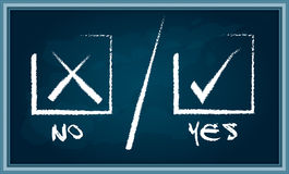 Yes or No sign on chalkboard Stock Photography
