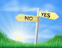 Yes or no sign in field Royalty Free Stock Images