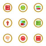Yes and no sign icons set, cartoon style Stock Photography