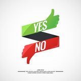 Yes and no sign of product quality. Yes and no sign of product quality and choice. Thumbs Up and Down Poster. Vector illustration Royalty Free Stock Images