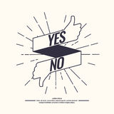 Yes and no sign of product quality. Yes and no hipster linear sign of product quality and choice. Thumbs Up and Down Poster. Vector illustration Royalty Free Stock Image