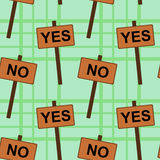 Yes and no signs seamless background design Royalty Free Stock Images