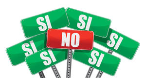 Yes and No signs in Spanish Stock Photo