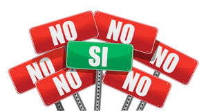 Yes and No signs in Spanish Royalty Free Stock Photo