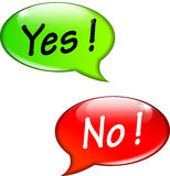 Yes and no speech bubbles Royalty Free Stock Images