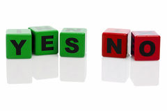 YES and NO spelled with alphabet building blocks Stock Photo