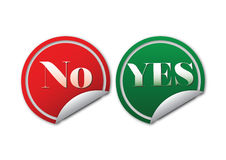 Yes NO sticker. Green and Red stickers with yes and no sign Royalty Free Stock Image