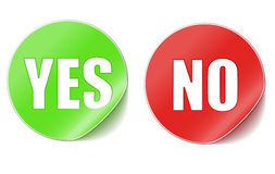 Yes or no stickers Royalty Free Stock Image