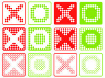 Yes No Symbols Patchwork of Color Dots. Stock Photo
