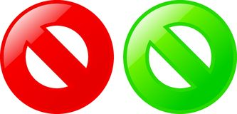 Yes/no symbols VECTOR. Yes and no symbols glossy Royalty Free Stock Photography