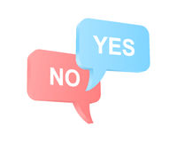 Yes and No talk balloons. Speech bubbles with two opposite opinions. Vector illustration royalty free illustration