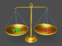 Yes and no text in balance scale 3d rendering. Green colored yes and red colored no text in balance scale over a grey background 3d rendering Stock Image