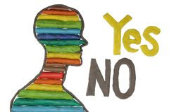 Yes Or No Concept. Yes and No text with human profile over white background Stock Image