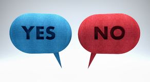 Yes or no text in speech bubbles 3d render. 3d illustration Royalty Free Stock Photos