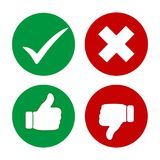 Yes, No, Thumbs up and down icons. Green and red thumb icon up and down. Illustration Yes, No, Thumbs up and down icons.Green and red thumb icon up and down Stock Photos