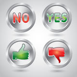 Yes and no, thumbs up and down metal buttons. Yes and no, thumbs up and down chrome metal web buttons Stock Image
