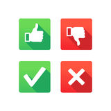 Yes, No, Thumbs up and down. Symbols for web - Yes, No, Thumbs up and down icons stock illustration