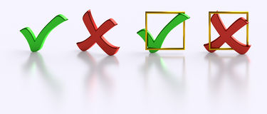 Yes No Tick Cross voting symbols isolated Royalty Free Stock Photography