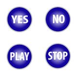 Yes no tick and play,stop buttons in blue color isolated on white background vector illustration