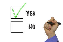 Yes No tickbox with green red tick Royalty Free Stock Images