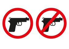 Yes or no to gun control. Sign with both handgun allowed and banned. Symbolic icon design includes automatic pistol with circle wi. Th a red line through it stock illustration