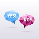 Yes and No Triangle Polygonal Vector Speech Stock Photography