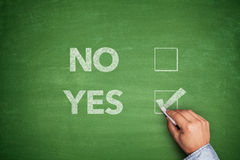 Yes or No, two choices written on blackboard Royalty Free Stock Photos