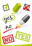 Yes_No_Vector. Yes and no written on paper Stock Photo
