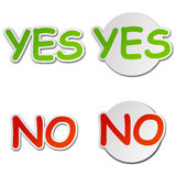 Yes and No Vector Stickers Royalty Free Stock Image