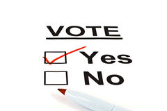 Yes / No Vote Ballot Form With YES Checked Royalty Free Stock Photography