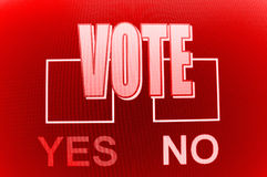 Yes and no voting boxes Stock Image