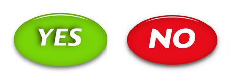 Yes and no word buttons isolated on white background.  White text on color background. Glass ellipse button. Web sign icon Royalty Free Stock Photo