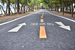 Yes or No words with white arrow sign marking on road Royalty Free Stock Image