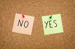 Yes or no. YES NO written on red white and green post notes pinned to a board suggesting options to accept or deny in a bussines look in landscape mode Stock Photo