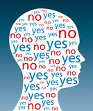 YES and NO written in silhouette of a head. The words YES and NO written in a silhouette of a head. A symbol for indecision and decision weakness. The word yes royalty free illustration