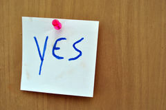 Yes note - confirmation Stock Image