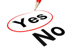 Yes outline with pencil Stock Photography