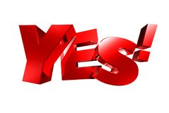 Free Yes Red 3D. Stock Images - 137451194