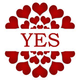 Yes Red Hearts Circular. Yes text written over red hearts circular background Stock Images