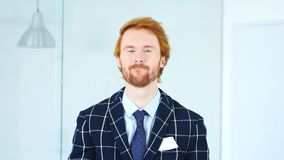 Yes, Redhead Businessman Accepting Offer, Agree. 4k , high quality Royalty Free Stock Image