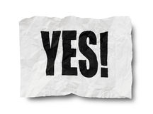 Yes sign on creased paper Stock Photography