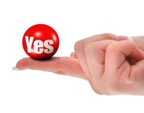 Yes sign on finger Royalty Free Stock Photos